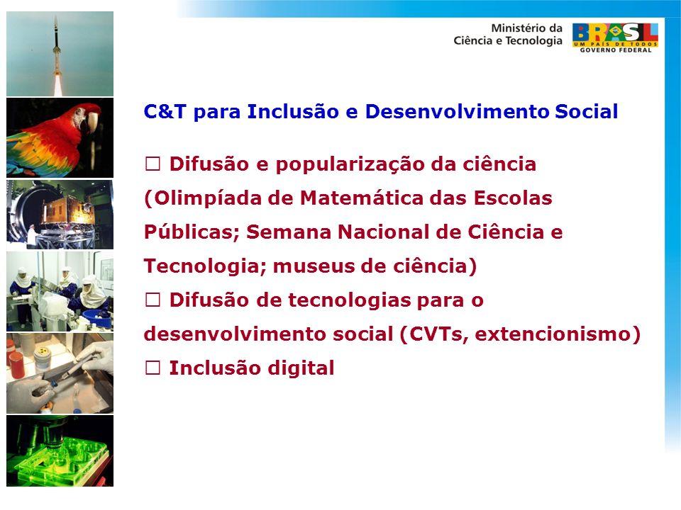 C&T para Inclusão e Desenvolvimento Social