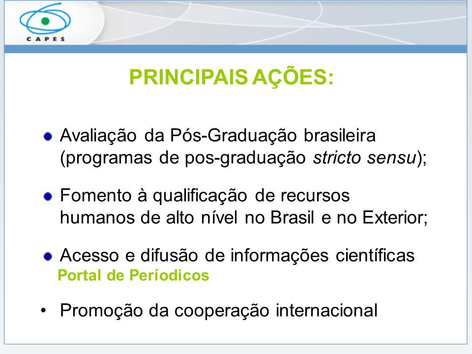 PRINCIPAIS AÇÕES:Avaliação da Pós-Graduação brasileira (programas de pos-graduação stricto sensu);