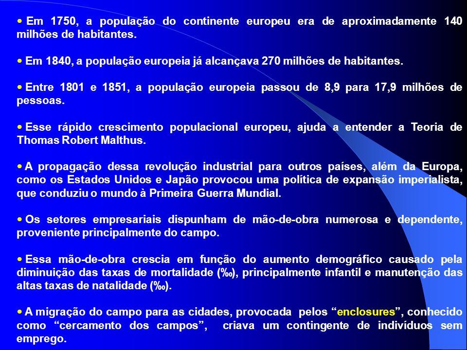 Em 1750, a população do continente europeu era de aproximadamente 140 milhões de habitantes.