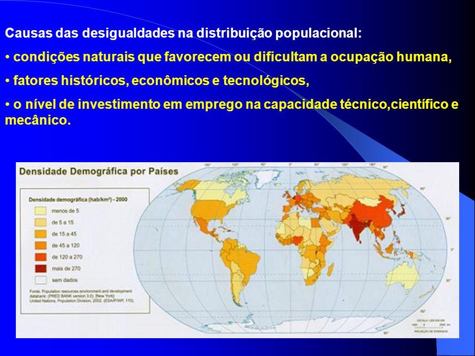 Causas das desigualdades na distribuição populacional: