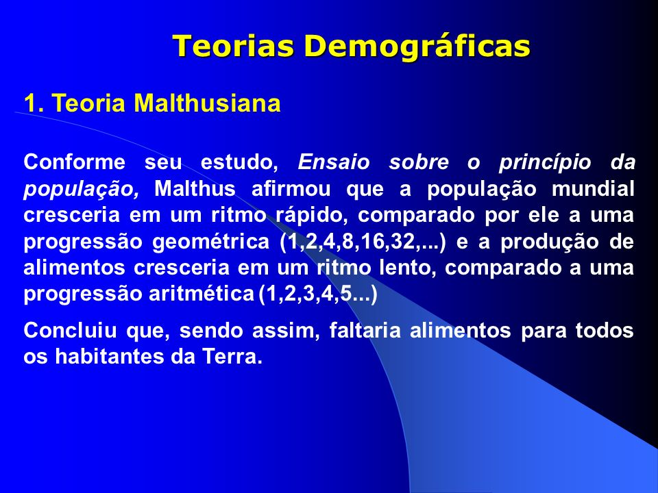 Teorias Demográficas 1. Teoria Malthusiana
