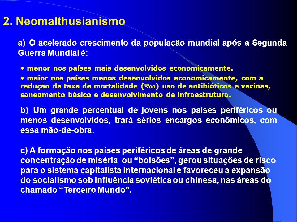 2. Neomalthusianismo a) O acelerado crescimento da população mundial após a Segunda Guerra Mundial é: