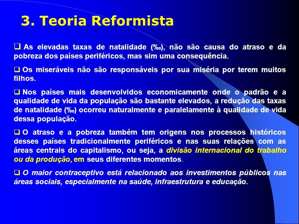 3. Teoria Reformista As elevadas taxas de natalidade (‰), não são causa do atraso e da pobreza dos países periféricos, mas sim uma consequência.