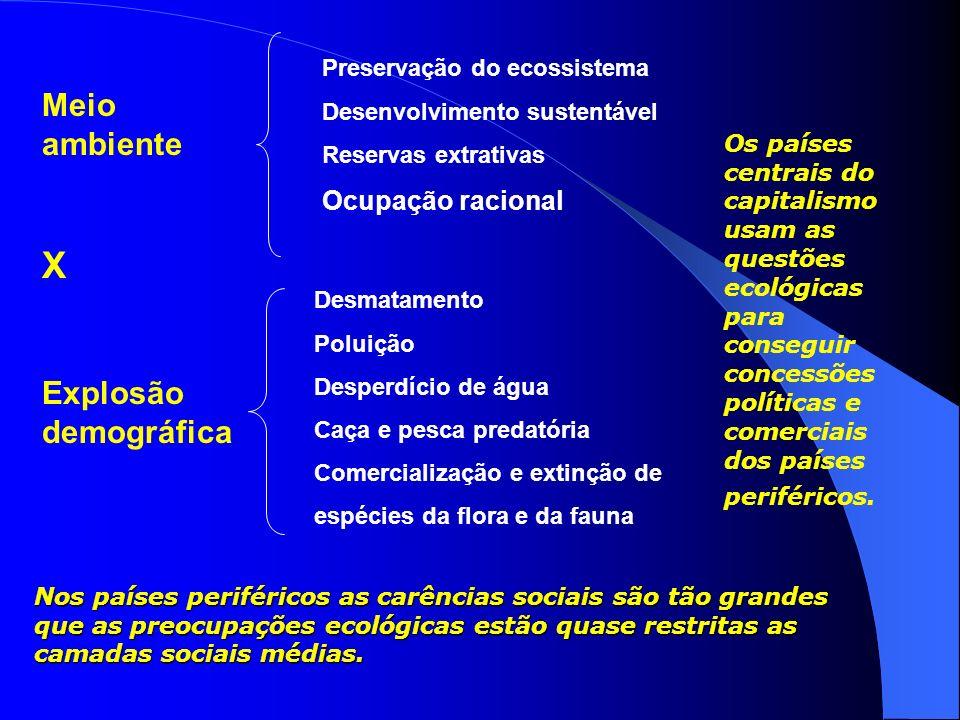 X Meio ambiente Explosão demográfica Ocupação racional