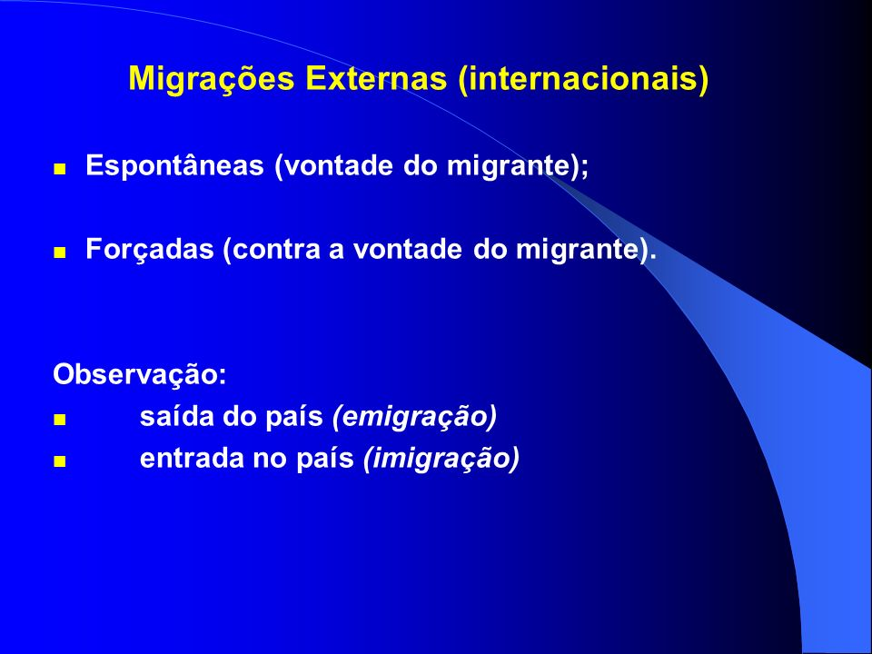 Migrações Externas (internacionais)