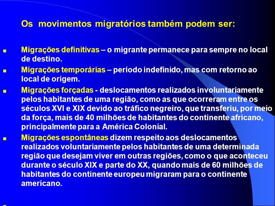 Os movimentos migratórios também podem ser: