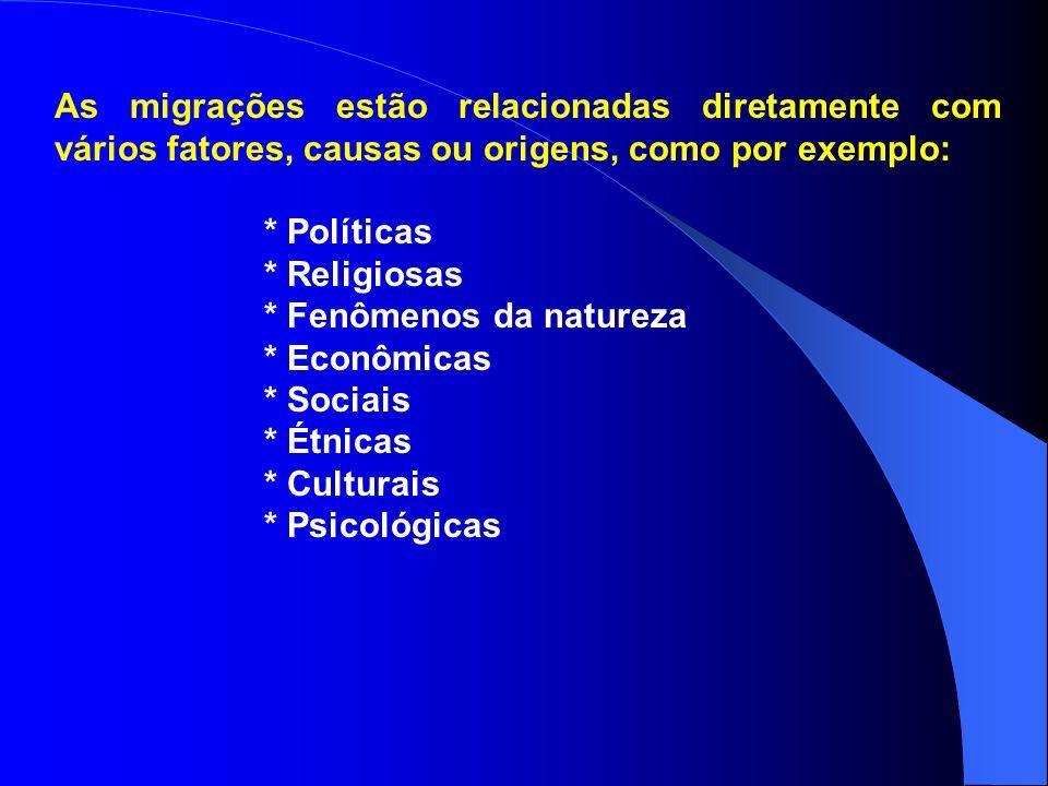 As migrações estão relacionadas diretamente com vários fatores, causas ou origens, como por exemplo: