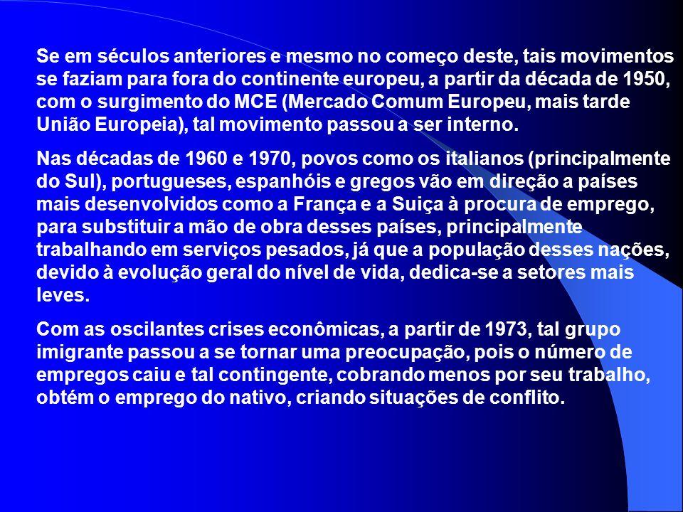 Se em séculos anteriores e mesmo no começo deste, tais movimentos se faziam para fora do continente europeu, a partir da década de 1950, com o surgimento do MCE (Mercado Comum Europeu, mais tarde União Europeia), tal movimento passou a ser interno.