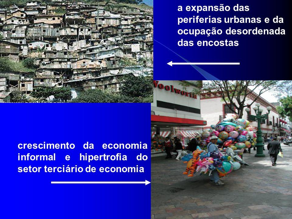 a expansão das periferias urbanas e da ocupação desordenada das encostas