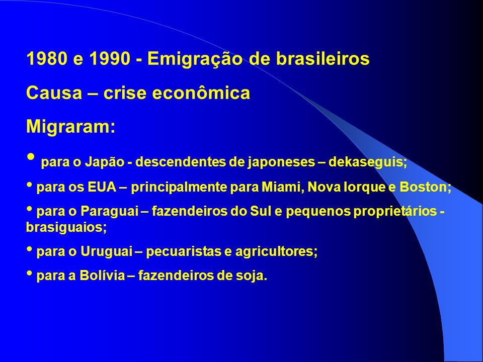 1980 e 1990 - Emigração de brasileiros Causa – crise econômica