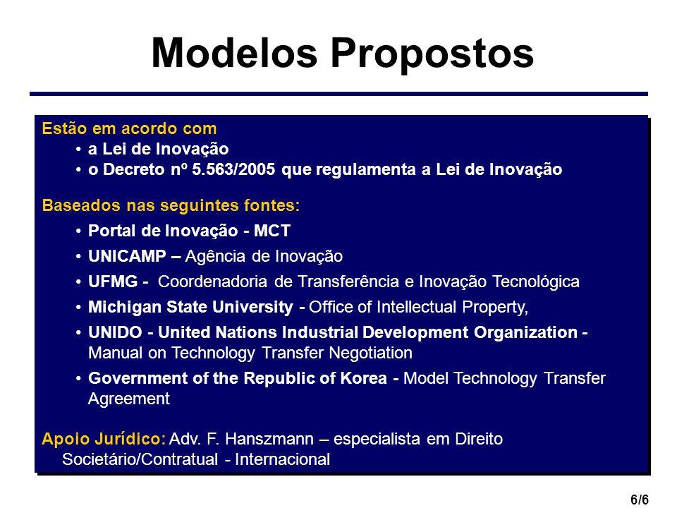 Modelos Propostos Estão em acordo com a Lei de Inovação