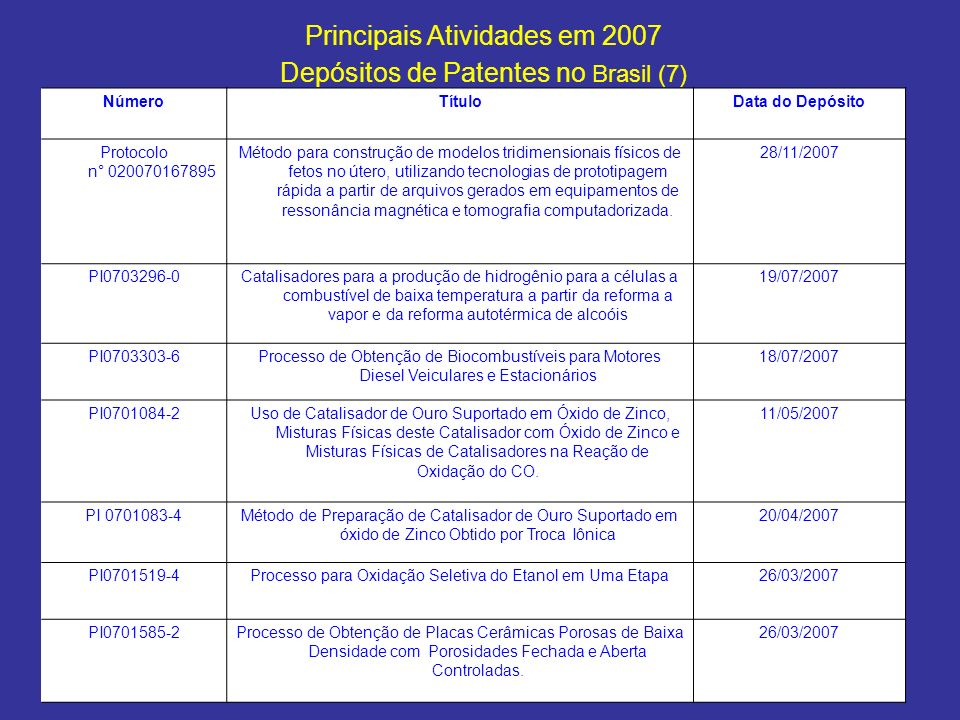 Principais Atividades em 2007 Depósitos de Patentes no Brasil (7)