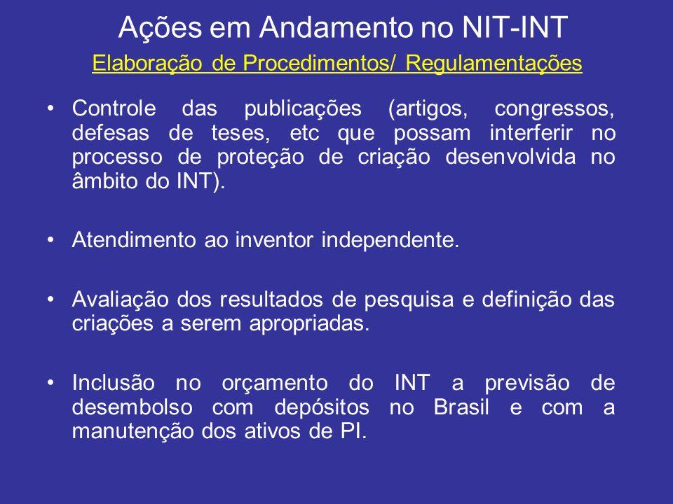 Ações em Andamento no NIT-INT
