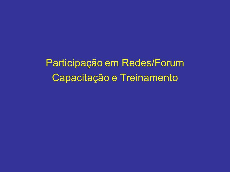 Participação em Redes/Forum Capacitação e Treinamento