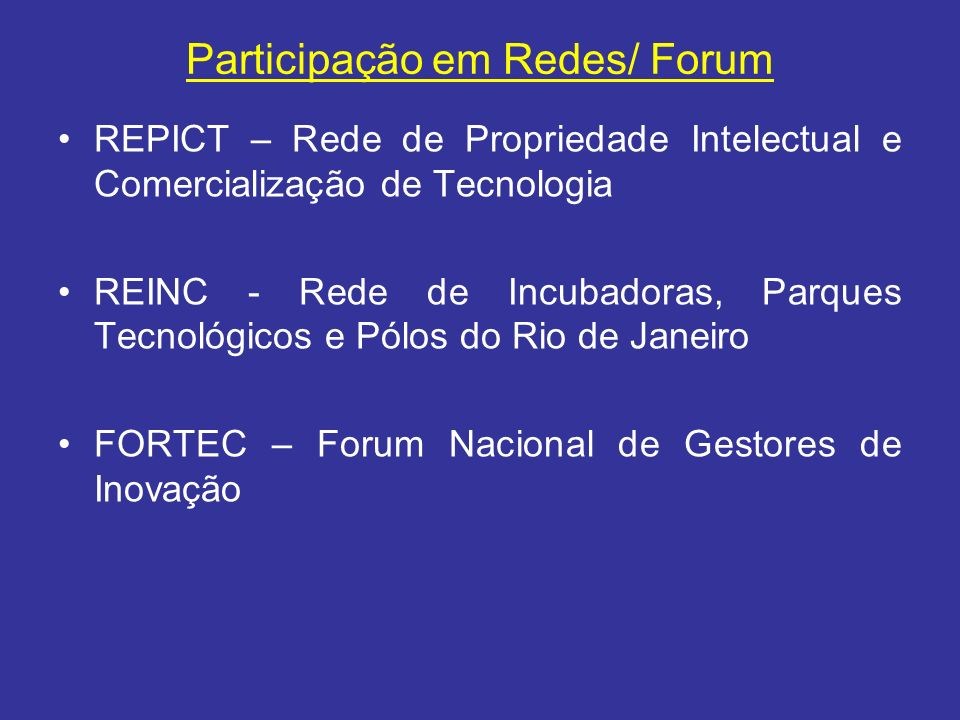 Participação em Redes/ Forum