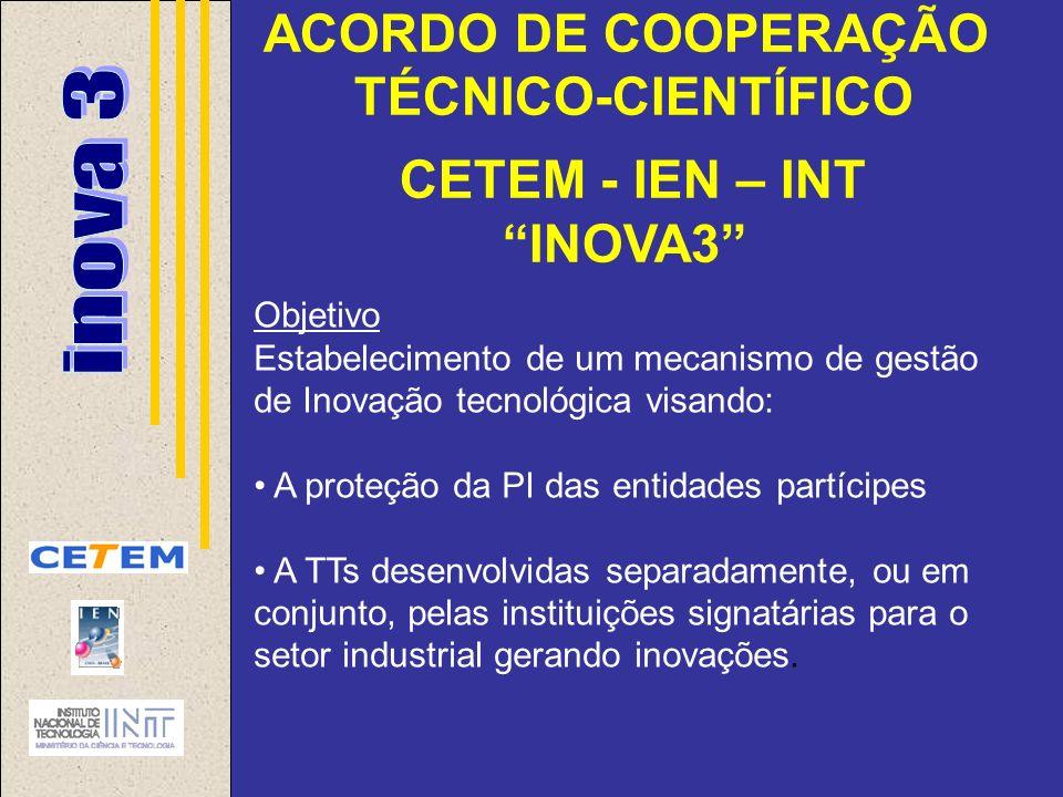 ACORDO DE COOPERAÇÃO TÉCNICO-CIENTÍFICO CETEM - IEN – INT INOVA3