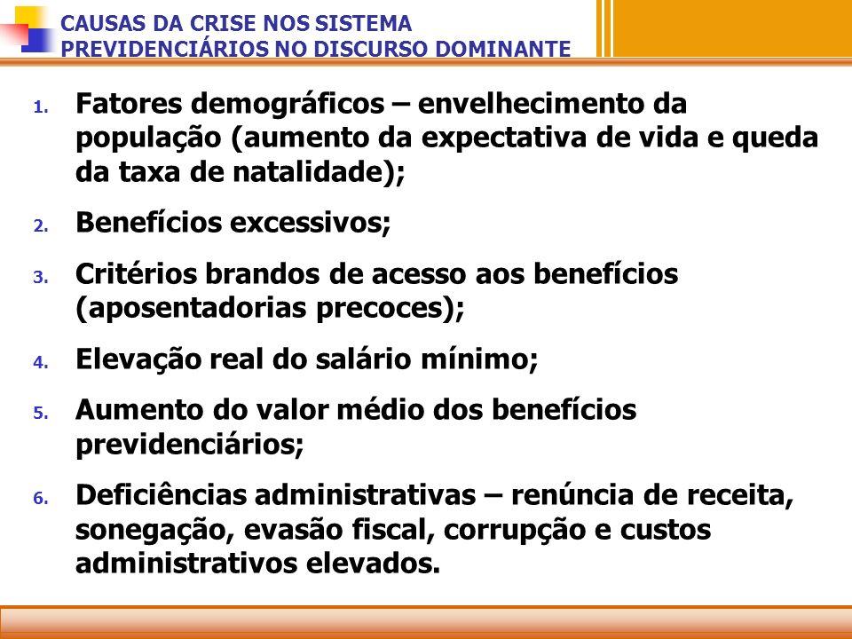 CAUSAS DA CRISE NOS SISTEMA PREVIDENCIÁRIOS NO DISCURSO DOMINANTE