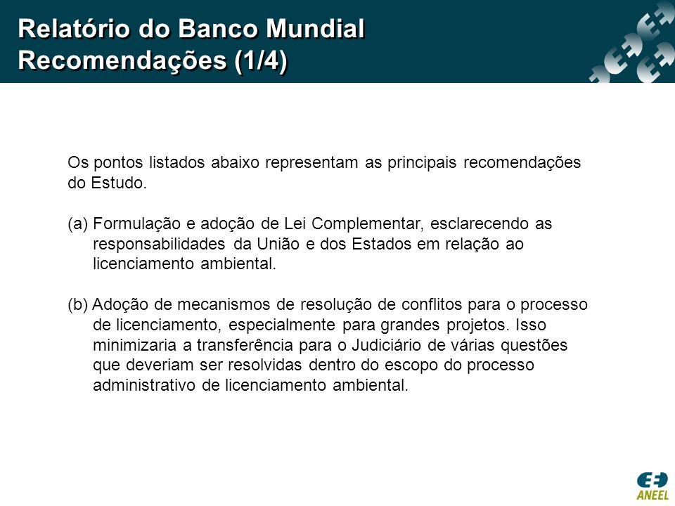 Relatório do Banco Mundial Recomendações (1/4)
