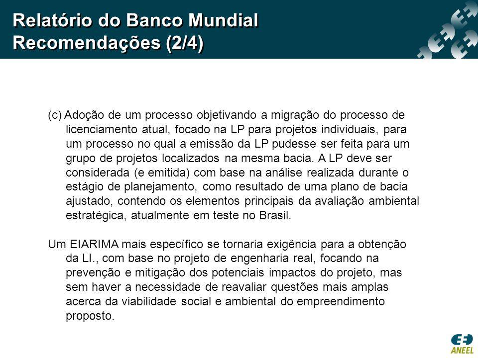 Relatório do Banco Mundial Recomendações (2/4)