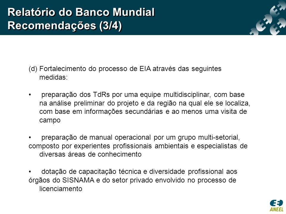 Relatório do Banco Mundial Recomendações (3/4)