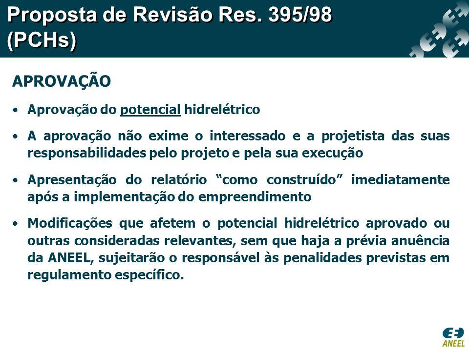 Proposta de Revisão Res. 395/98 (PCHs)