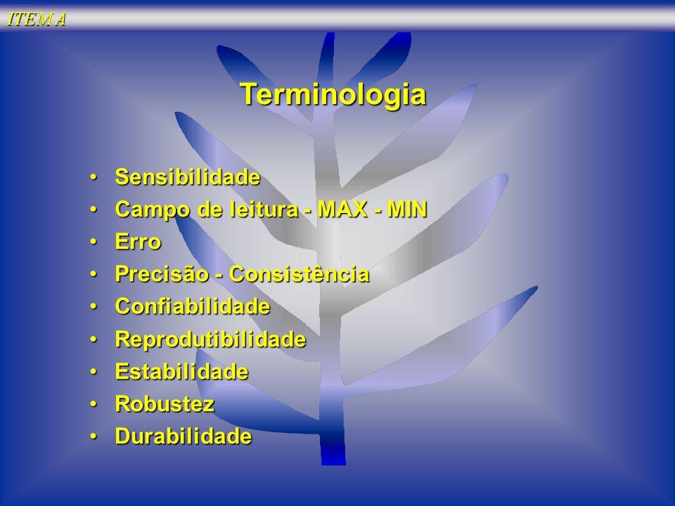 Terminologia Sensibilidade Campo de leitura - MAX - MIN Erro