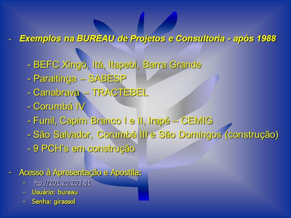 - BEFC Xingó, Itá, Itapebi, Barra Grande - Paraitinga – SABESP
