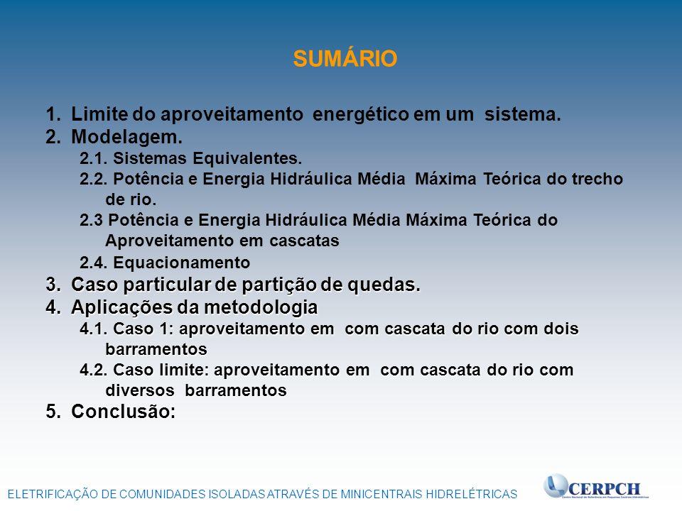 SUMÁRIO Limite do aproveitamento energético em um sistema. Modelagem.