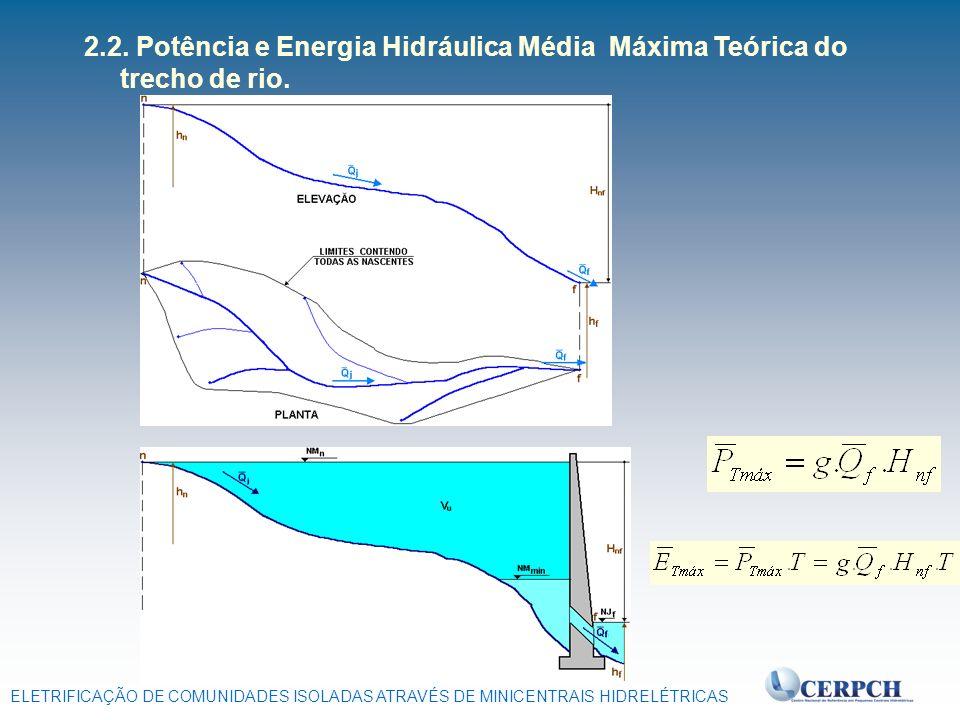 2.2. Potência e Energia Hidráulica Média Máxima Teórica do trecho de rio.
