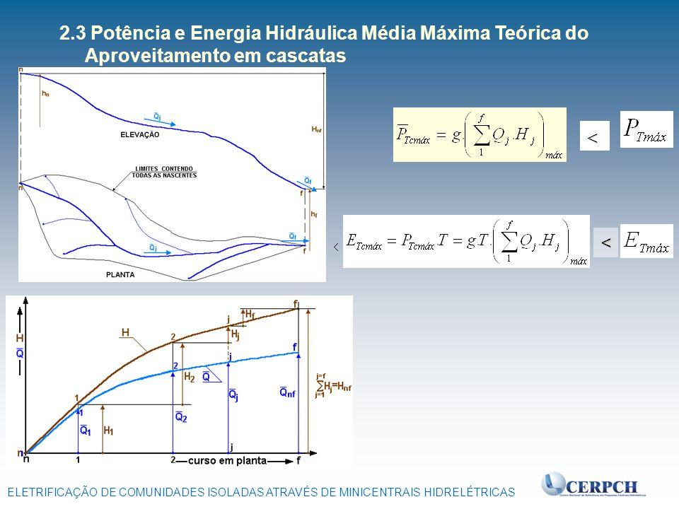 2.3 Potência e Energia Hidráulica Média Máxima Teórica do Aproveitamento em cascatas