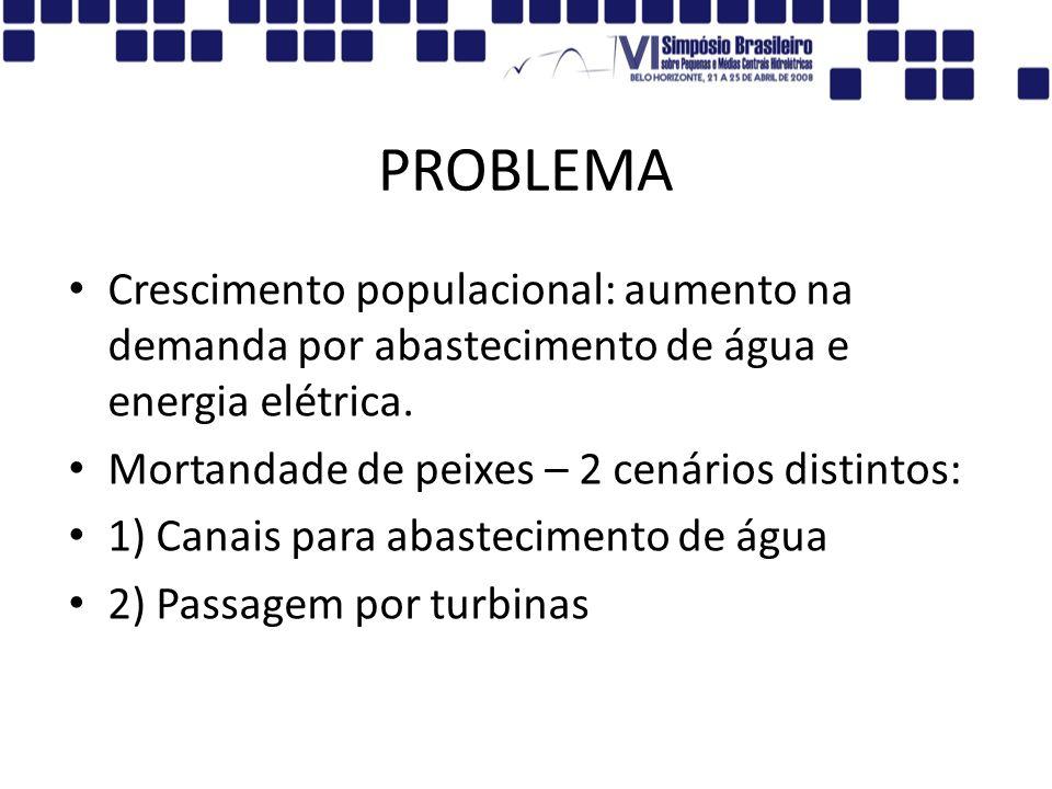 PROBLEMACrescimento populacional: aumento na demanda por abastecimento de água e energia elétrica. Mortandade de peixes – 2 cenários distintos:
