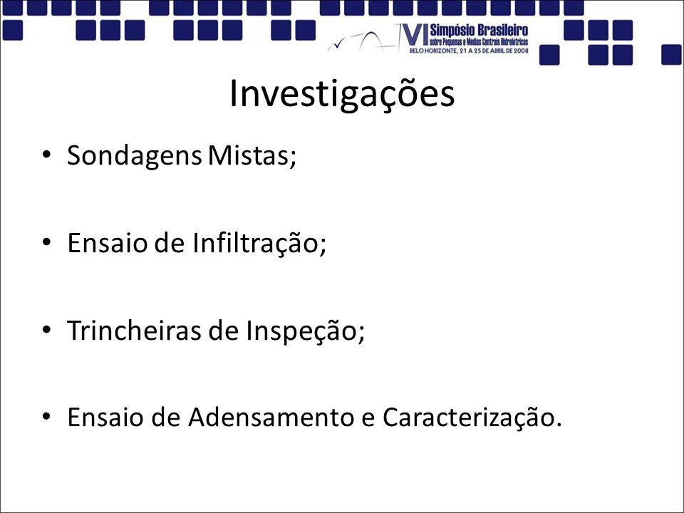 Investigações Sondagens Mistas; Ensaio de Infiltração;