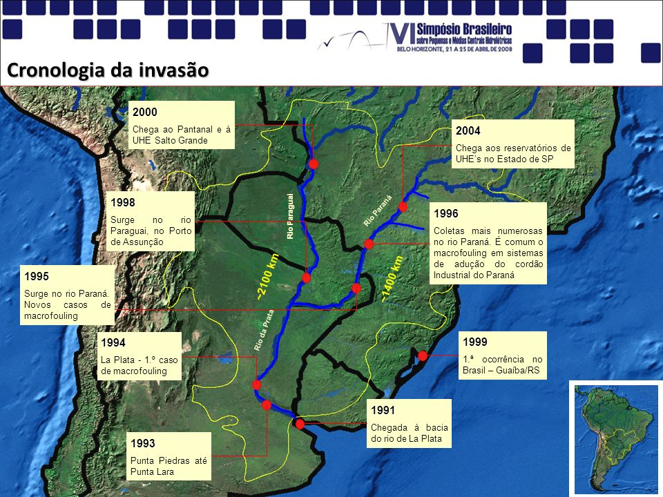 Cronologia da invasão 2000 2004 1998 1996 ~2100 km ~1400 km 1995 1994