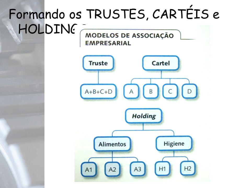 Formando os TRUSTES, CARTÉIS e HOLDINGS.
