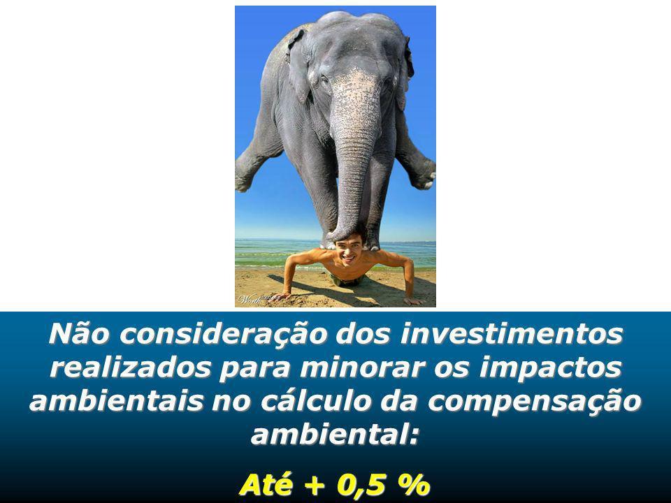 Não consideração dos investimentos realizados para minorar os impactos ambientais no cálculo da compensação ambiental: