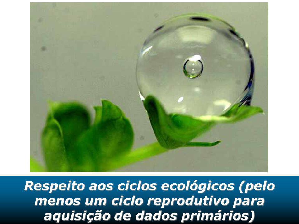 Respeito aos ciclos ecológicos (pelo menos um ciclo reprodutivo para aquisição de dados primários)