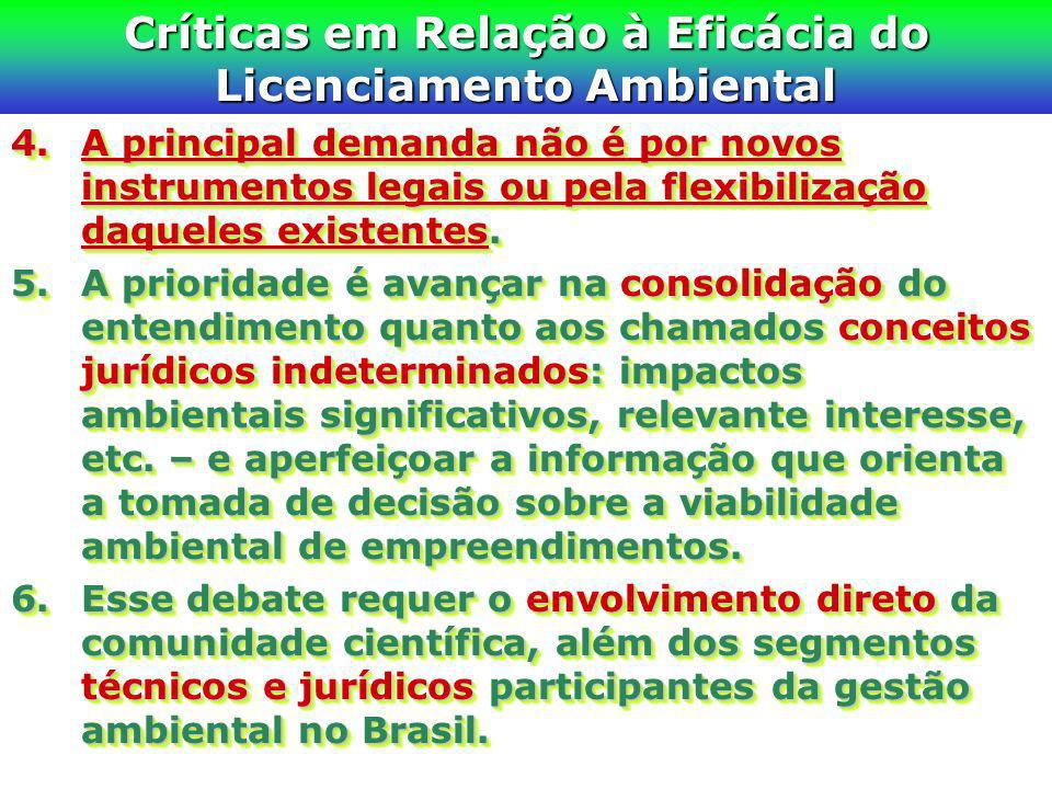 Críticas em Relação à Eficácia do Licenciamento Ambiental