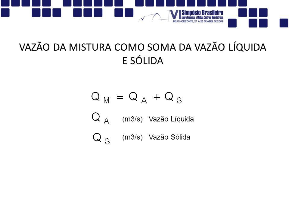 VAZÃO DA MISTURA COMO SOMA DA VAZÃO LÍQUIDA E SÓLIDA