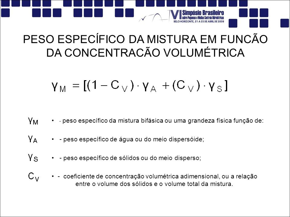 PESO ESPECÍFICO DA MISTURA EM FUNCÃO DA CONCENTRACÃO VOLUMÉTRICA