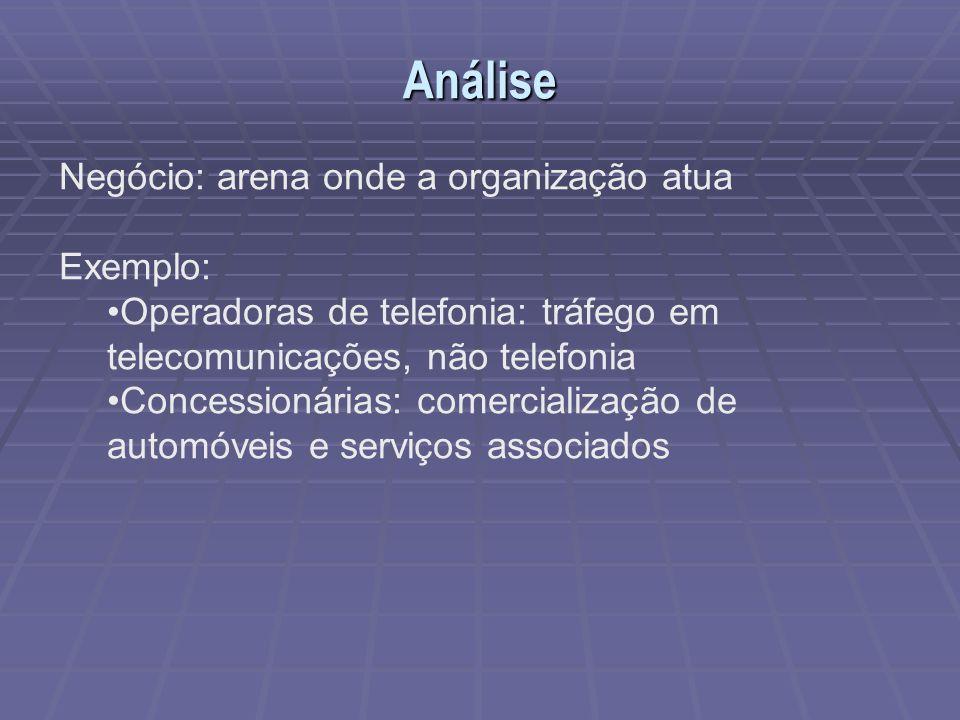 Análise Negócio: arena onde a organização atua Exemplo: