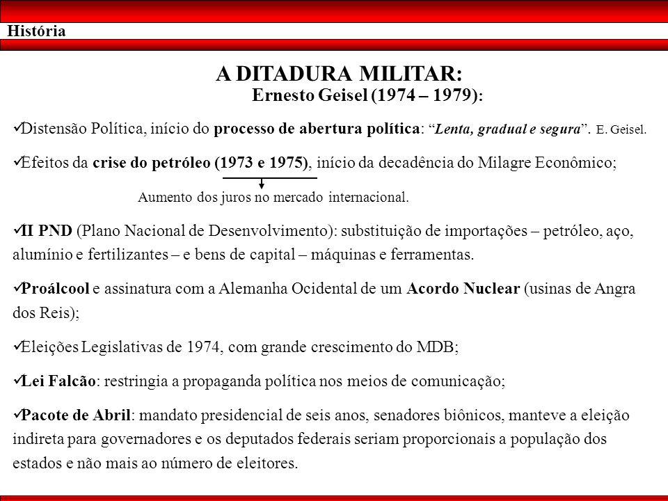 A DITADURA MILITAR: Ernesto Geisel (1974 – 1979): História