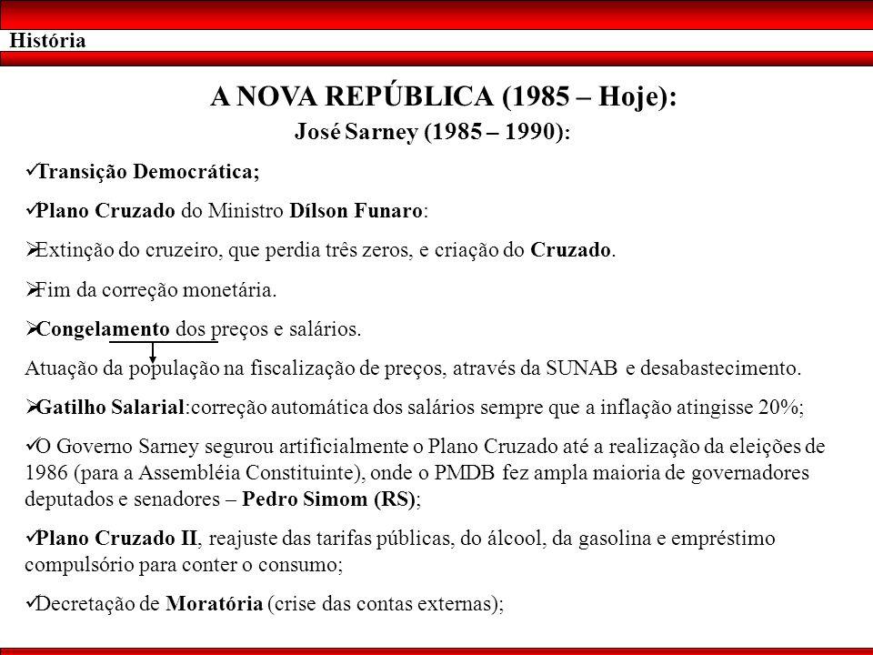 A NOVA REPÚBLICA (1985 – Hoje):