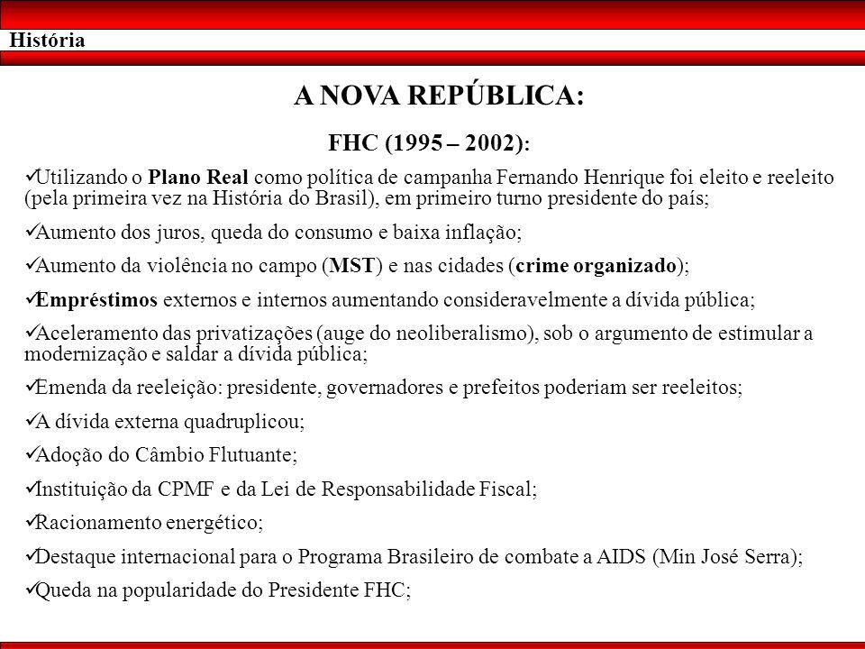 A NOVA REPÚBLICA: FHC (1995 – 2002): História