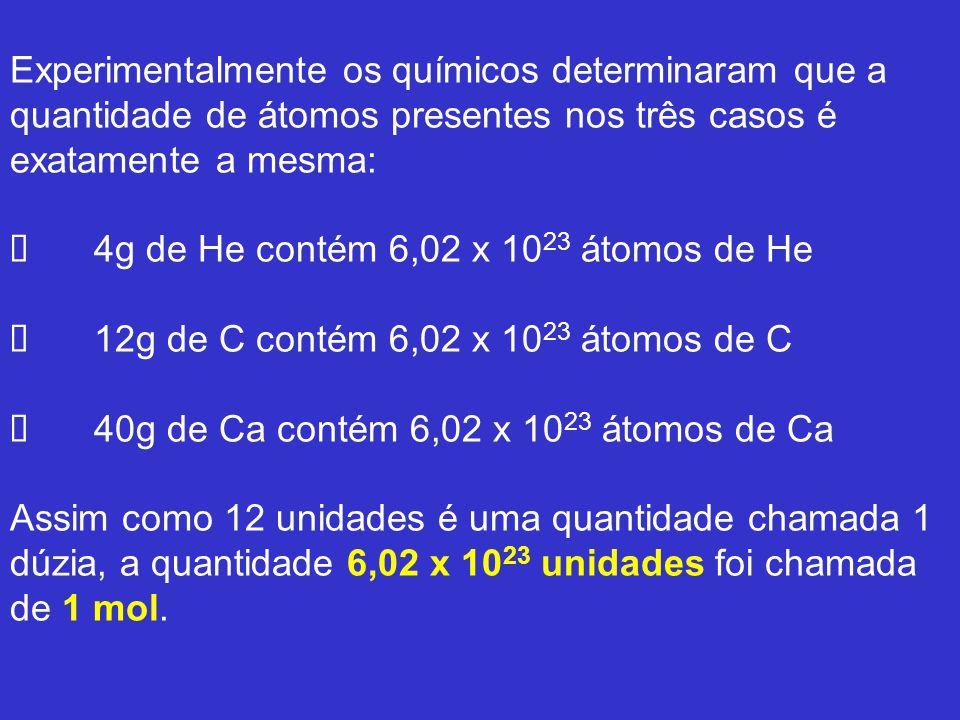 Experimentalmente os químicos determinaram que a quantidade de átomos presentes nos três casos é exatamente a mesma: Ø 4g de He contém 6,02 x 1023 átomos de He Ø 12g de C contém 6,02 x 1023 átomos de C Ø 40g de Ca contém 6,02 x 1023 átomos de Ca Assim como 12 unidades é uma quantidade chamada 1 dúzia, a quantidade 6,02 x 1023 unidades foi chamada de 1 mol.