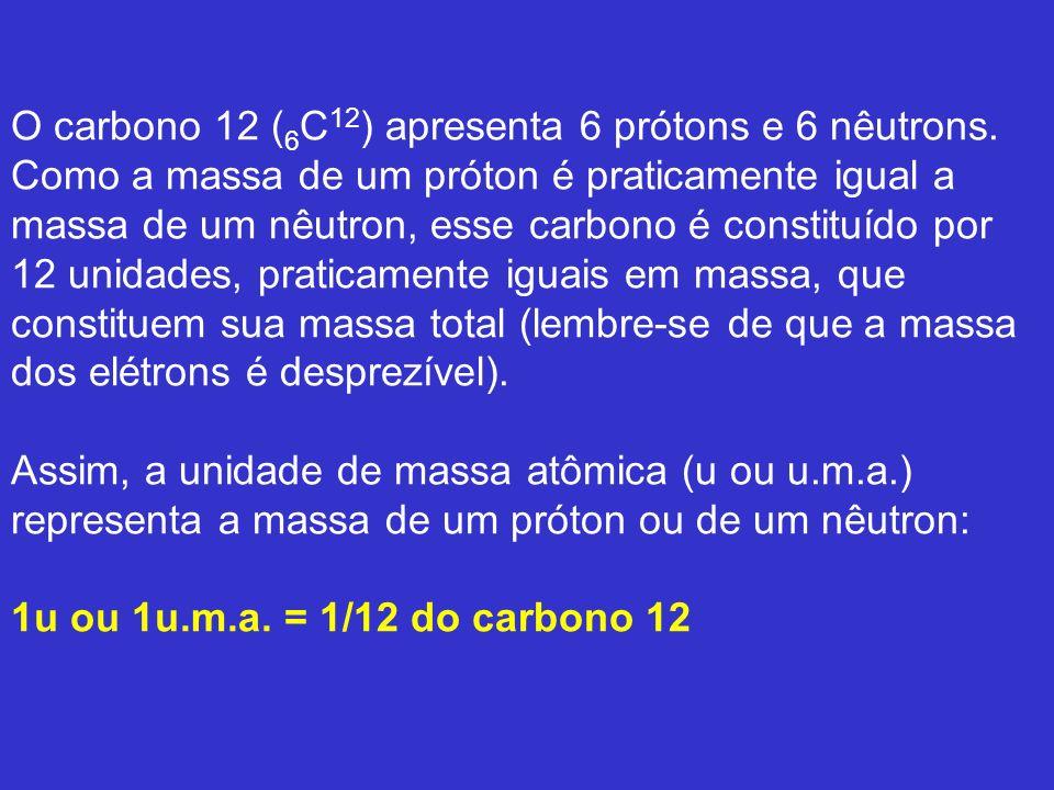 O carbono 12 (6C12) apresenta 6 prótons e 6 nêutrons
