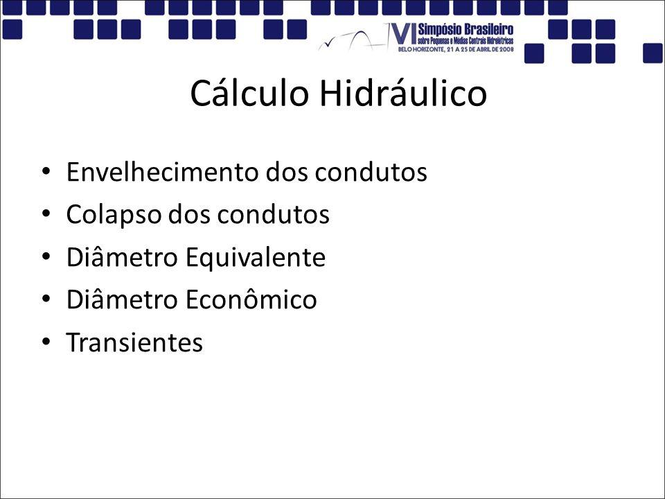Cálculo Hidráulico Envelhecimento dos condutos Colapso dos condutos