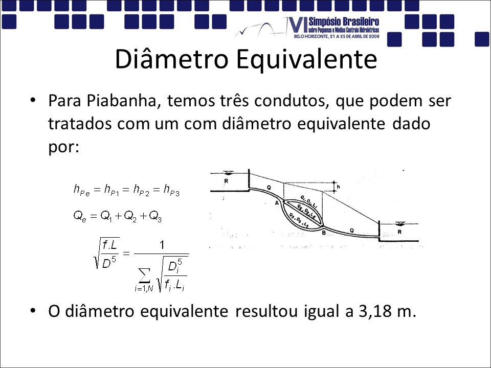 Diâmetro Equivalente Para Piabanha, temos três condutos, que podem ser tratados com um com diâmetro equivalente dado por: