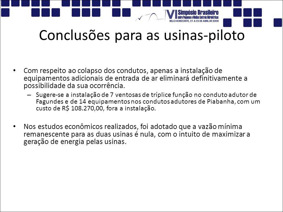 Conclusões para as usinas-piloto