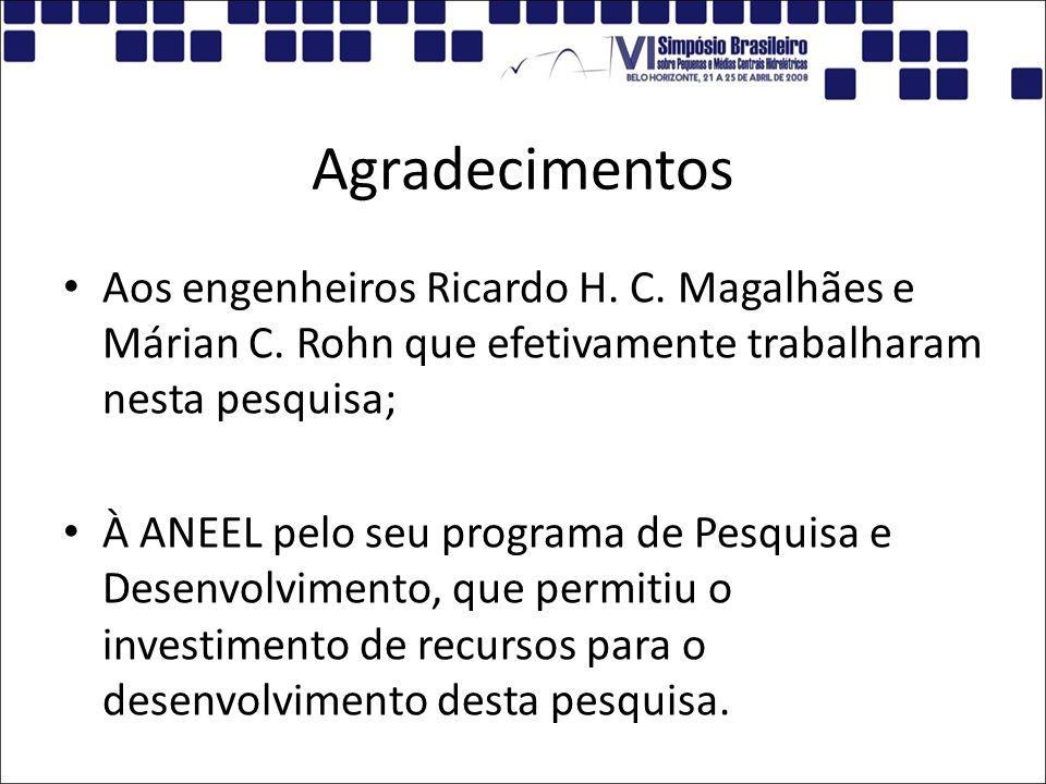 Agradecimentos Aos engenheiros Ricardo H. C. Magalhães e Márian C. Rohn que efetivamente trabalharam nesta pesquisa;