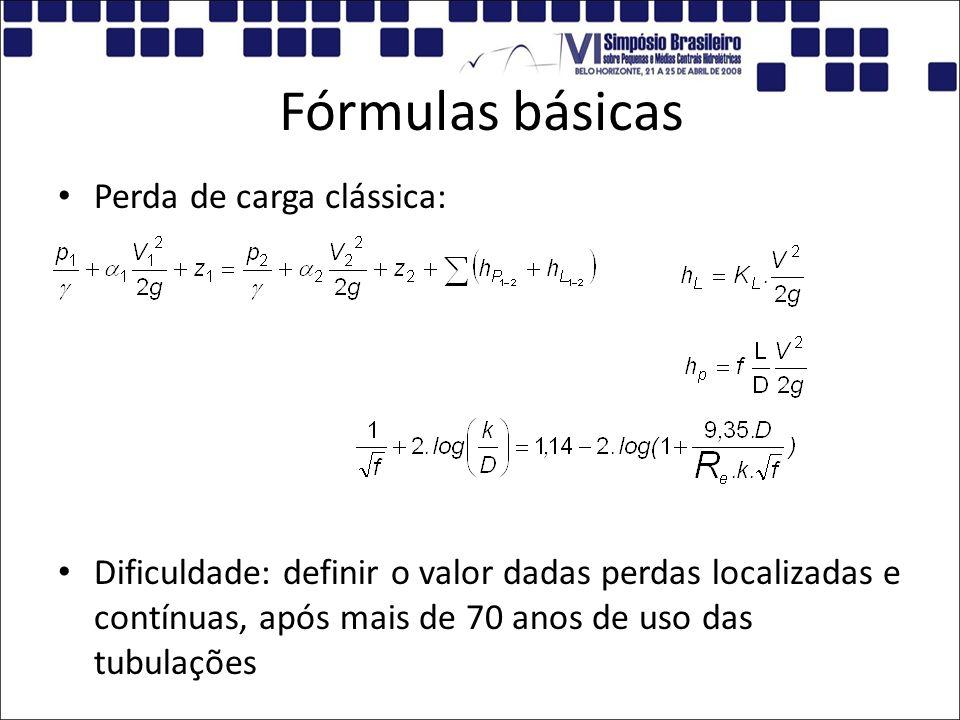 Fórmulas básicas Perda de carga clássica: